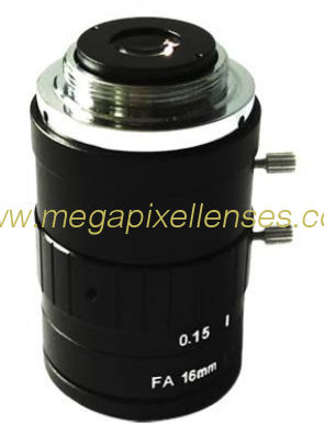 "2/3"" 16mm F1.8 5Megapixel Non-distortion Manual IRIS C-mount FA Lens"