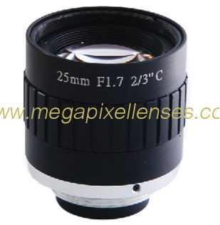 "2/3"" 25mm F1.7 5Megapixel Manual IRIS Low-distortion C-mount Lens for Traffic Monitoring"