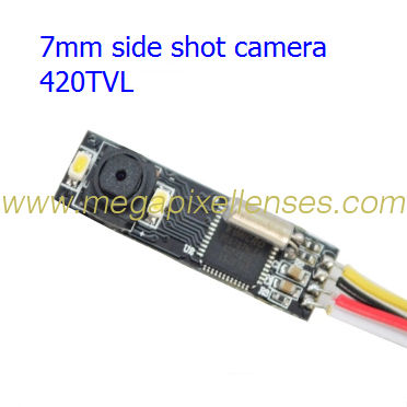"Super mini IR camera module for endoscope, side shot, 7mm wide, 1/5"" CMOS, Auto AWB, 420TVL, DC3.5V~6V"