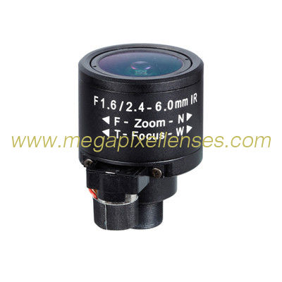 "1/3"" 2.4-6.0mm 2Megapixel F1.6 M12x0.5 Mount DC Auto IRIS Manual Zoom/FocusIR Vari-focal Board Lens"