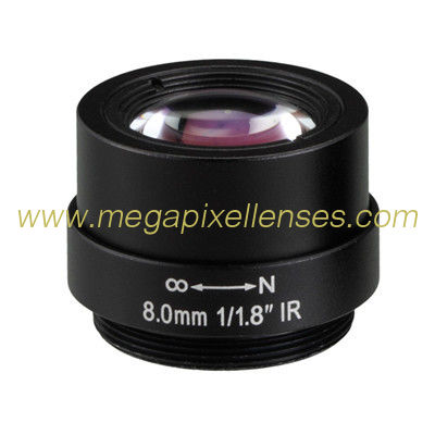 "1/1.8"" 8mm F1.8 5Megapixel CS Mount Non-Distortion IR Board Lens"
