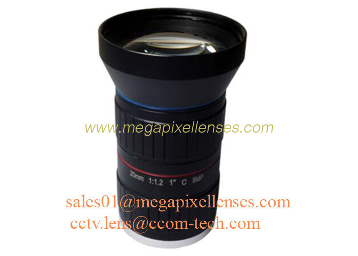 "1"" 20mm F1.2 8Megapixel C Mount Manual IRIS Low Distortion ITS Lens, 20mm Traffic Monitoring Lens"