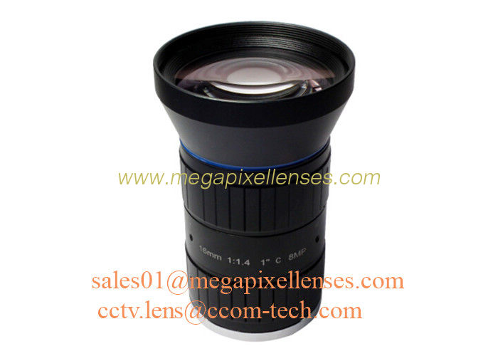 "1"" 16mm F1.4 8Megapixel C Mount Manual IRIS Low Distortion ITS Lens, 16mm Traffic Monitoring Lens"