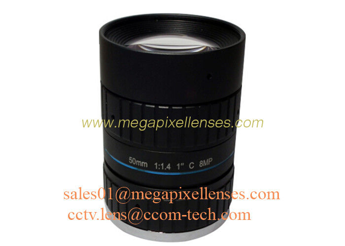 "1"" 50mm F1.4 8Megapixel C Mount Manual IRIS Low Distortion ITS Lens, 50mm Traffic Monitoring Lens"