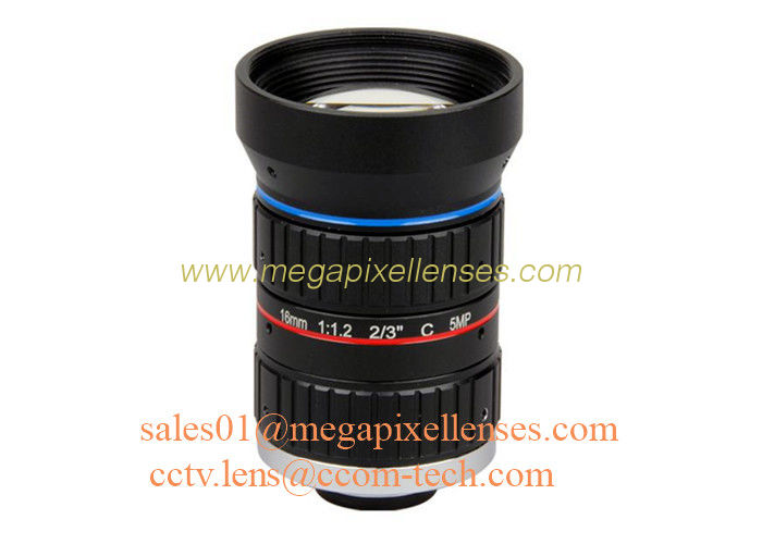 "2/3"" 16mm F1.2 5Megapixel Manual IRIS Low Distortion C Mount ITS Lens, 16mm Traffic Monitoring Lens"