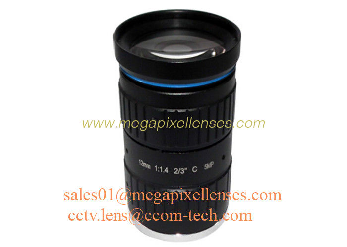 "2/3"" 12mm F1.4 5Megapixel Manual IRIS Low Distortion C Mount ITS Lens, 12mm Traffic Monitoring Lens"