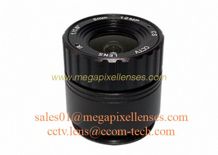 "1/1.8"" 5mm F2.0 12Megapixel CS mount IR fixed focal lens, 4K CS lens for CCTV IP cameras"