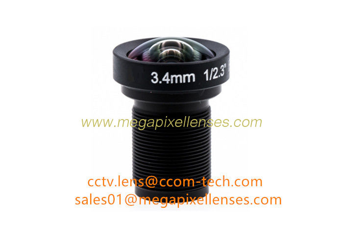 "1/2.3"" 3.4mm F2.8 16MP M12x0.5 mount non-distortion lens, megapixel low distortion lens for Gopro"