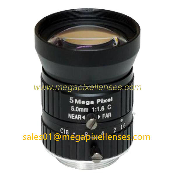"1/1.7"" 5mm F1.6 Megapixel Manual IRIS C Mount Industrial FA Lens, 5mm 5MP Road Monitoring Lens TV Lens"