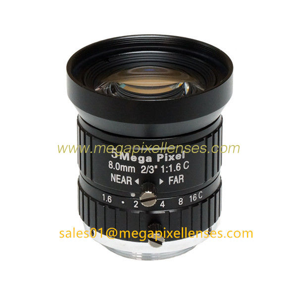 "2/3"" 8mm/12mm F1.6 5Megapixel Manual IRIS Low Distortion C Mount ITS Lens, 8mm Traffic Monitoring Lens"